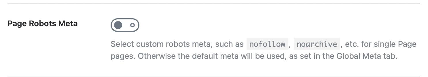 page robots meta options