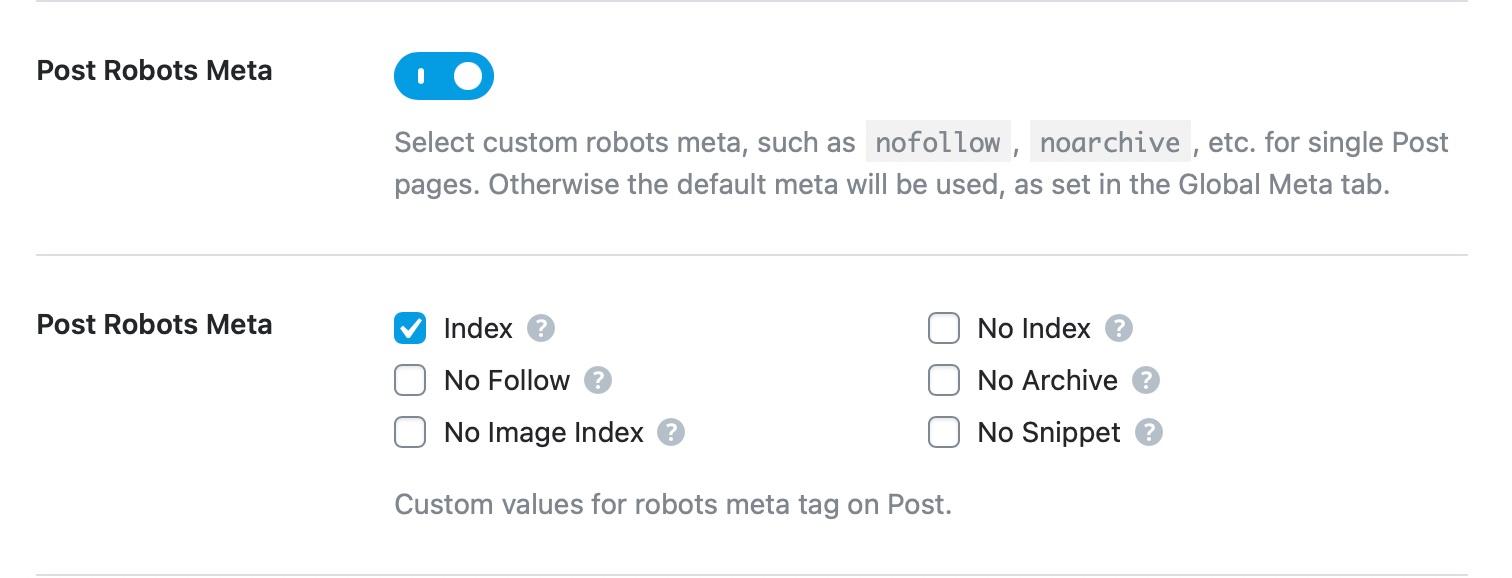 post robots meta detailed options