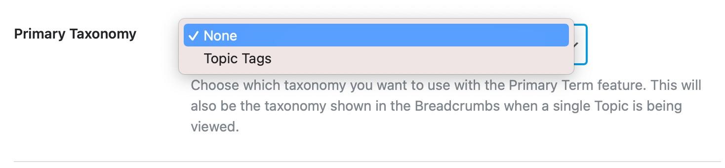 Primary taxonomy for topics