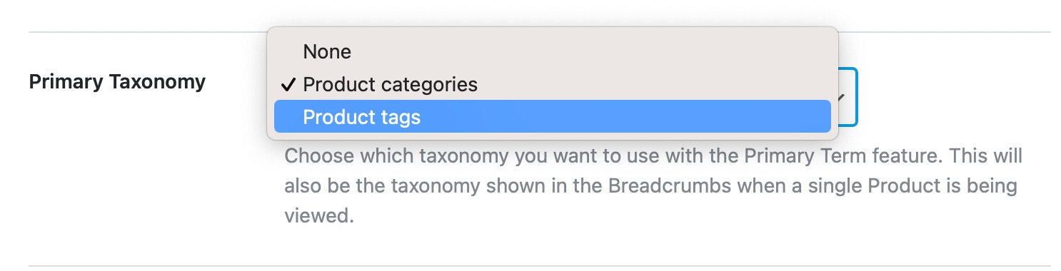 primary taxonomy for products