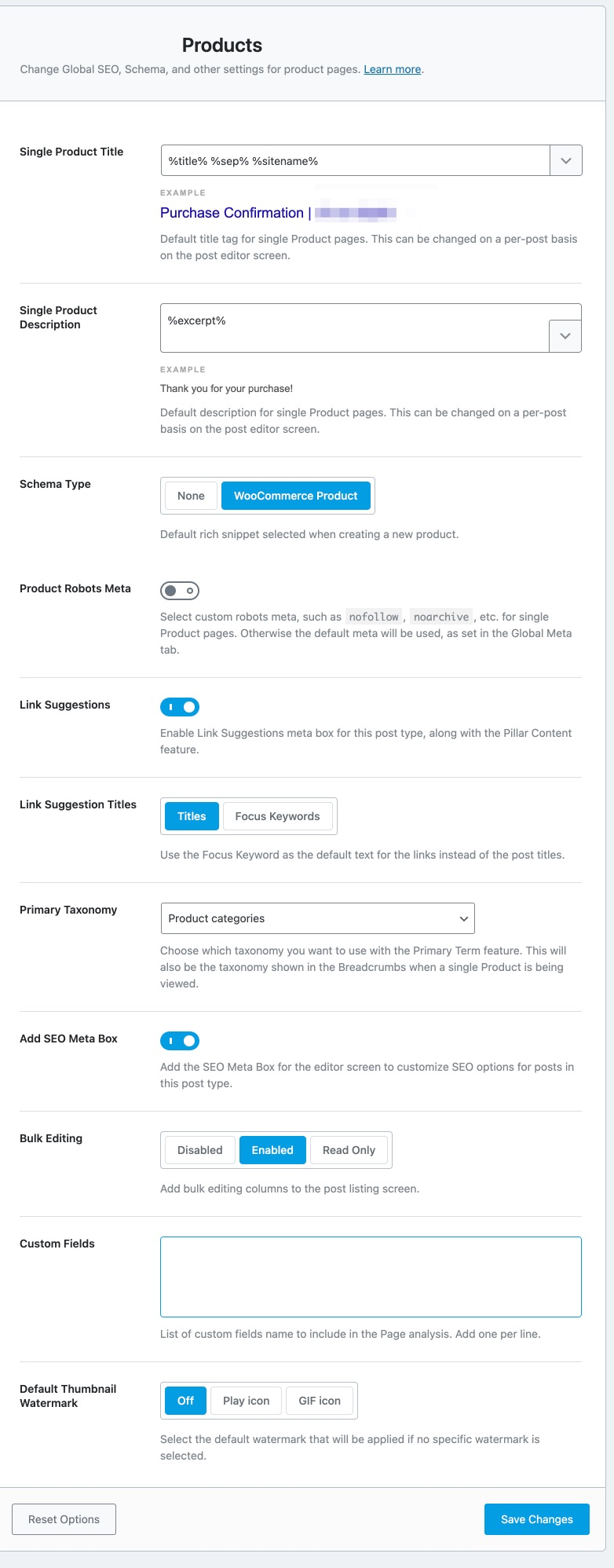 All settings in the products section