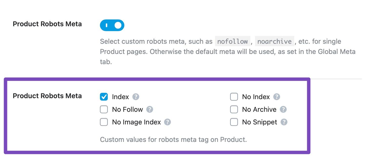Products robots meta custom settings
