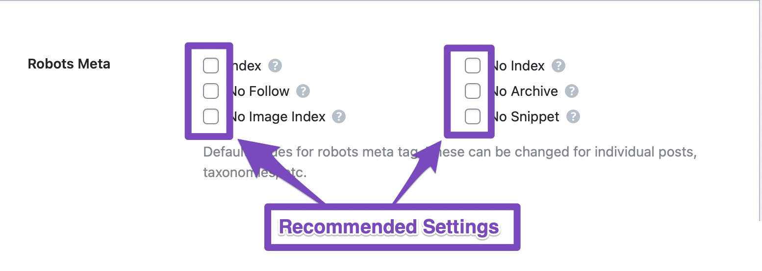 recommended settings from global robots meta