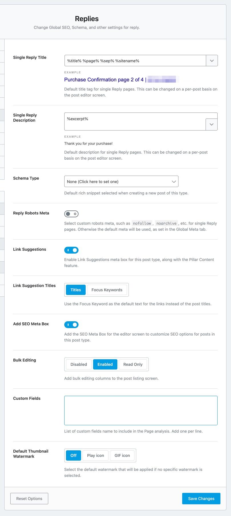 All settings in replies