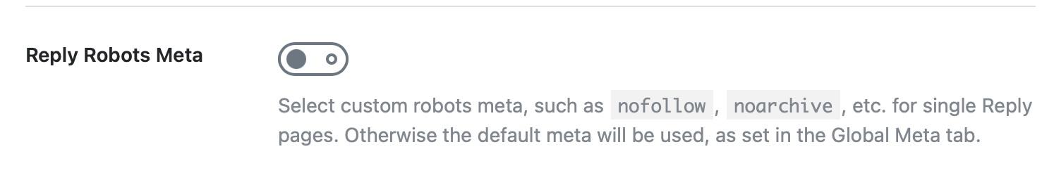 Reply robots meta