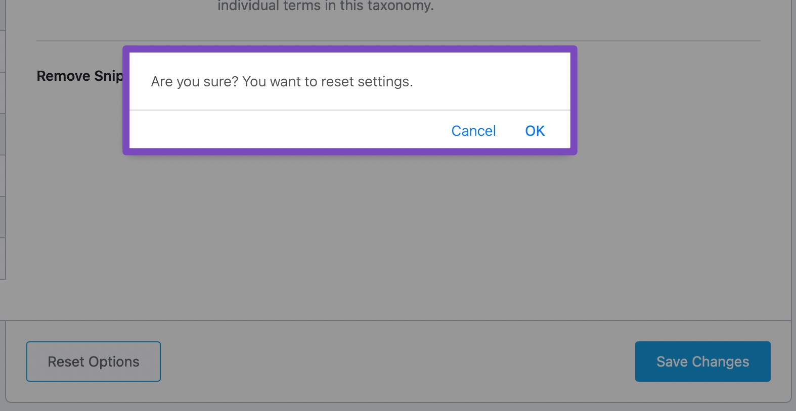 Confirmation box for resetting settings
