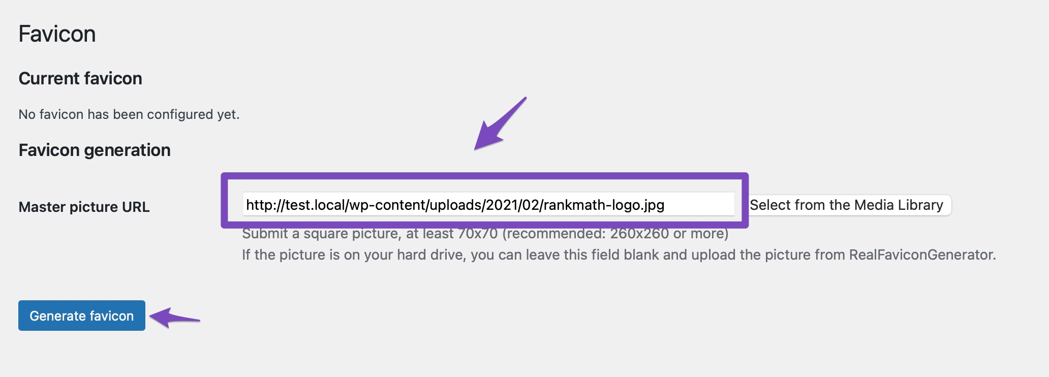 Enter the picture URL and click on Generate favicon