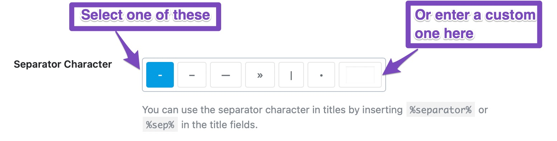 Global Meta - separator character configuration