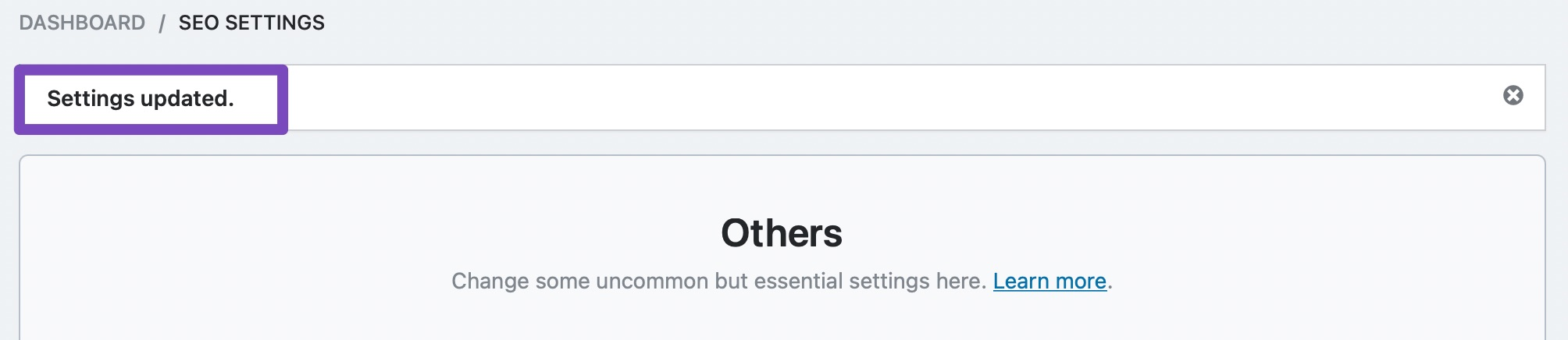 settings updated confirmation