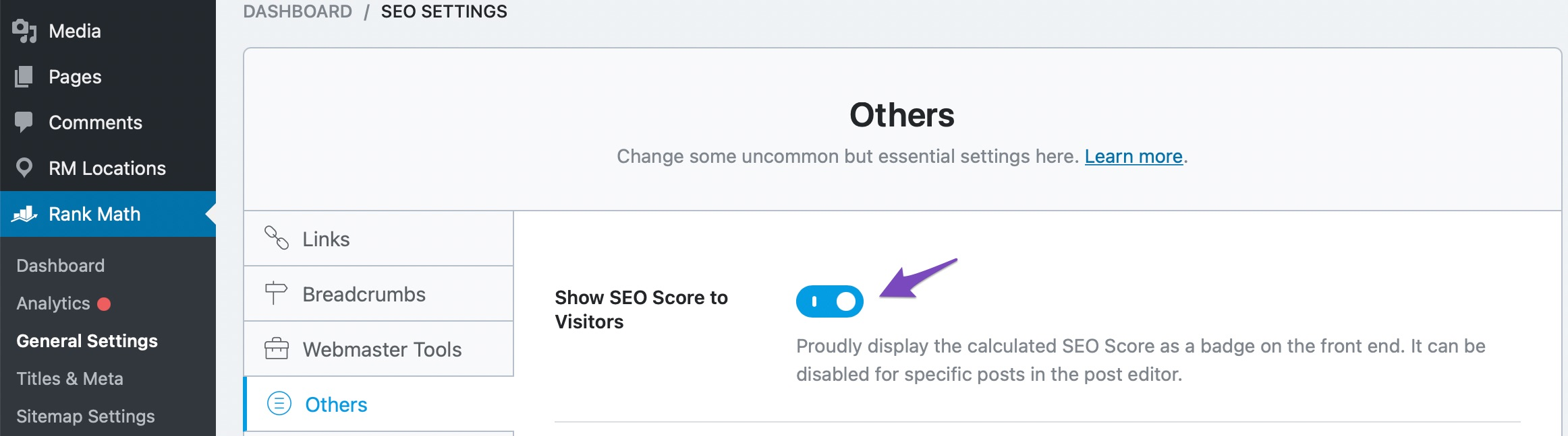 Enable Show SEO Score to visitors option
