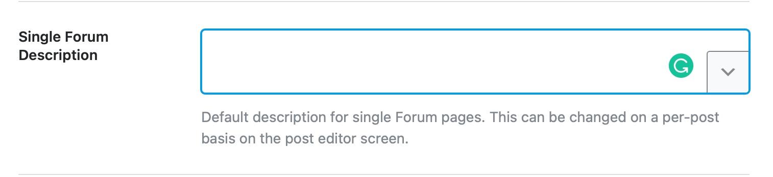 single forum description