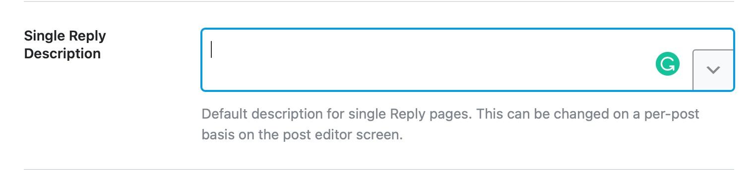 Single reply description format