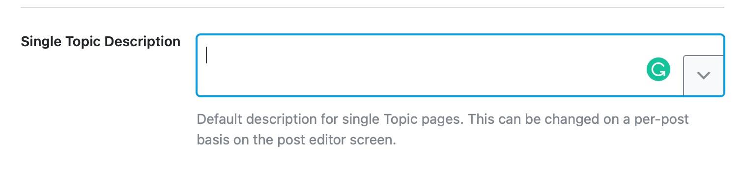 Single topic description