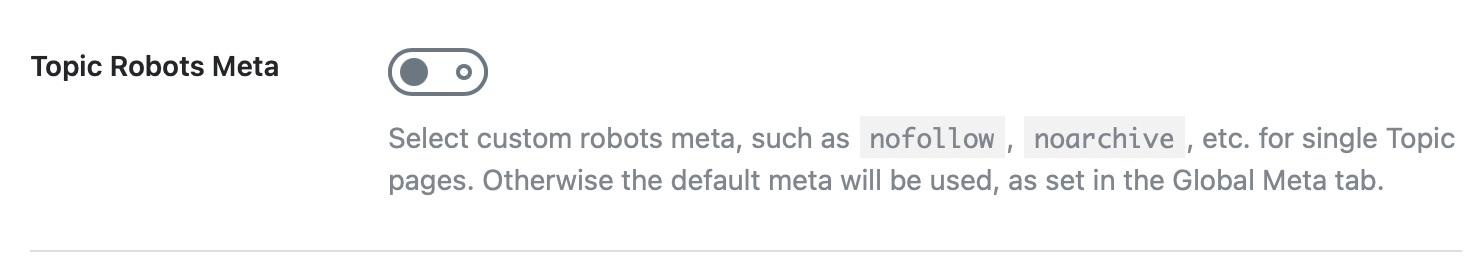 Topic robots meta