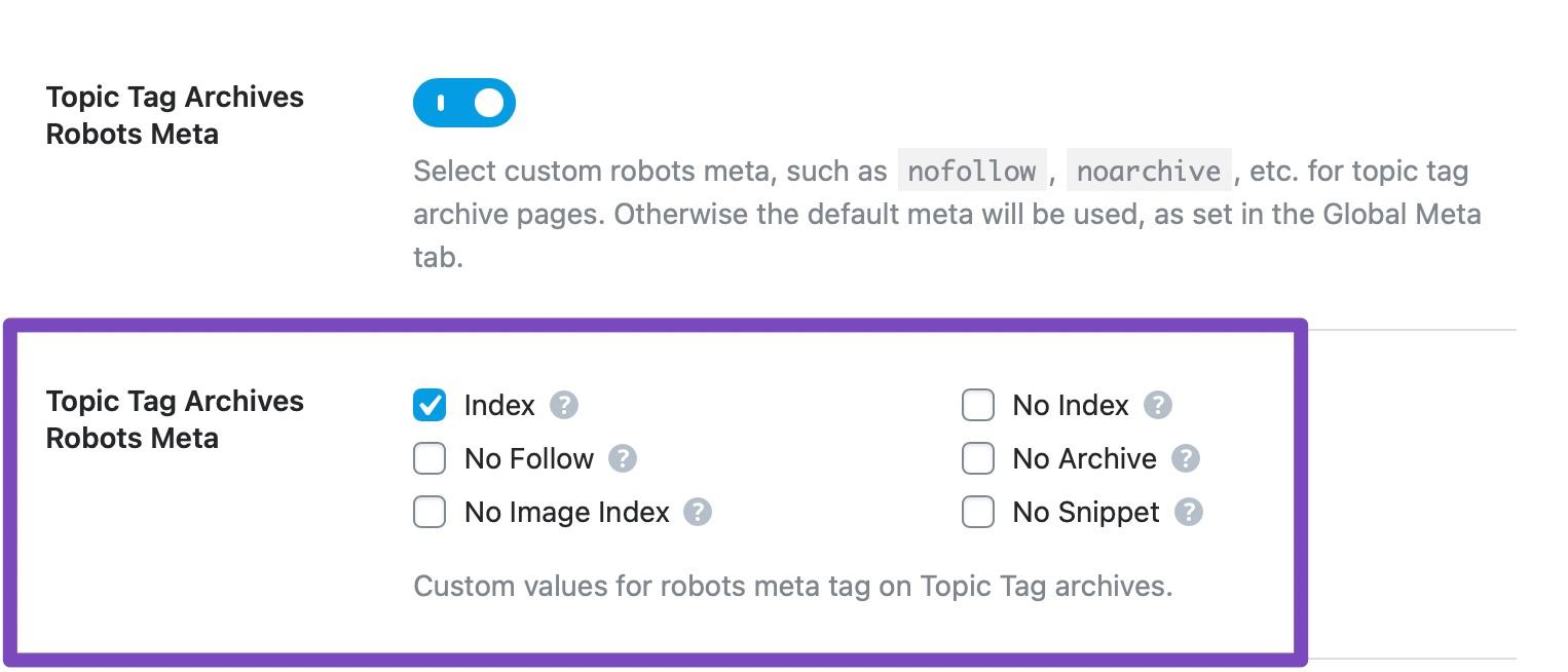 Topic tag archives robots meta custom settings