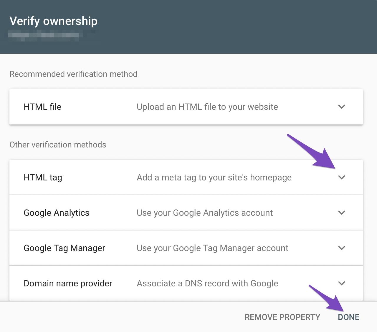 choose preferred method for website verification