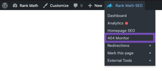 404 Monitor - Rank Math Quick Actions admin menu