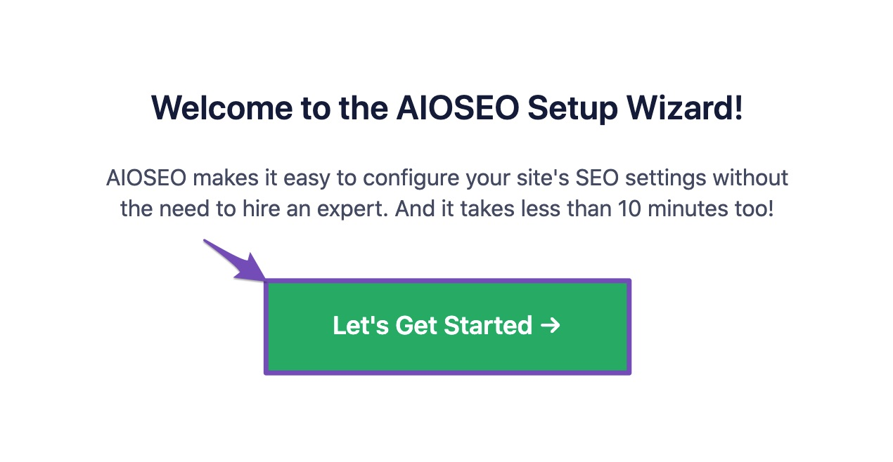 Welcome to All In One SEO pack Setup Wizard