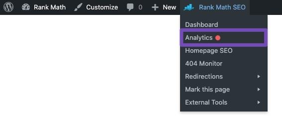 Analytics in Rank Math Quick Actions admin menu