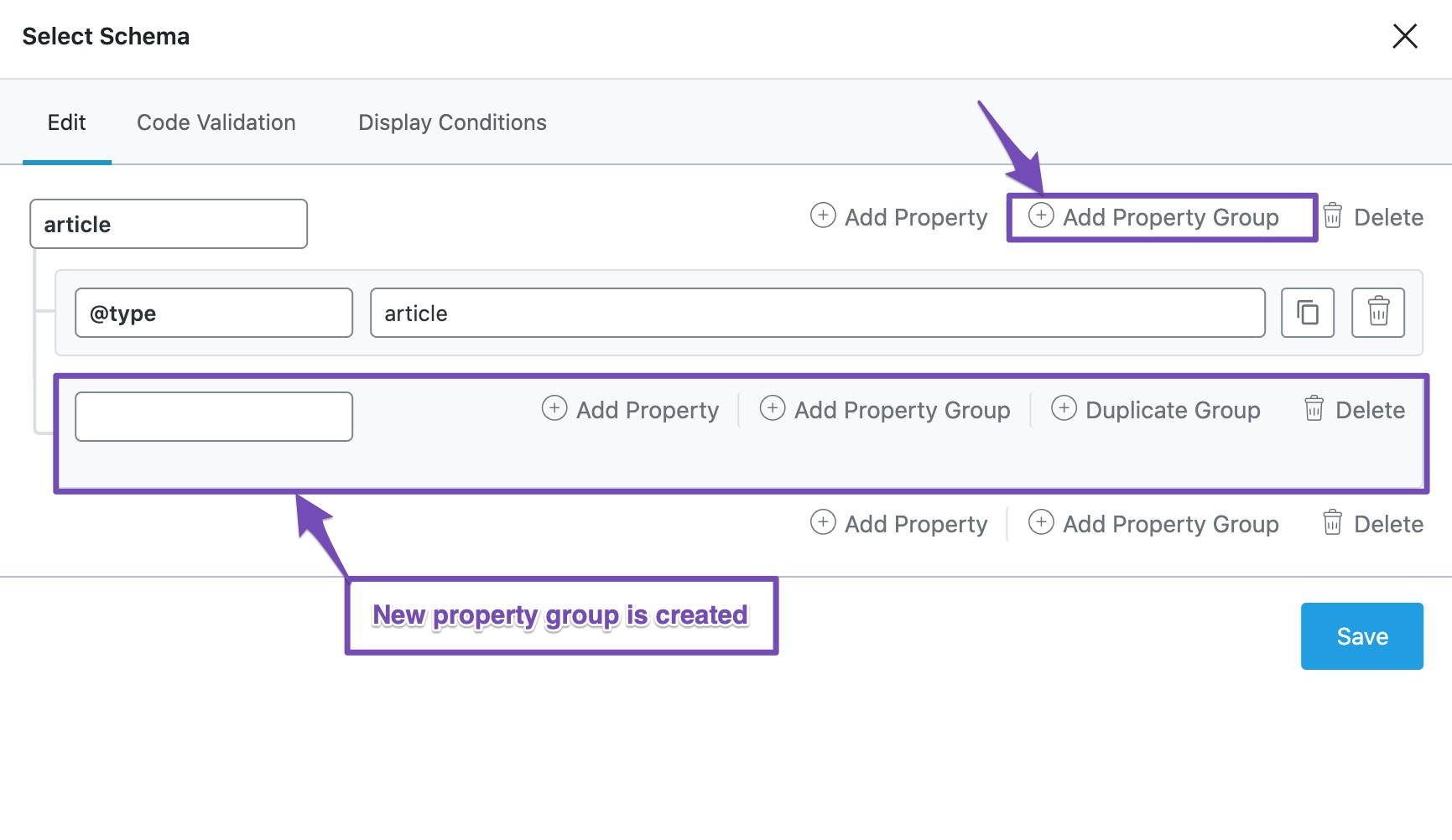 Add New property group in Custom Schema Builder