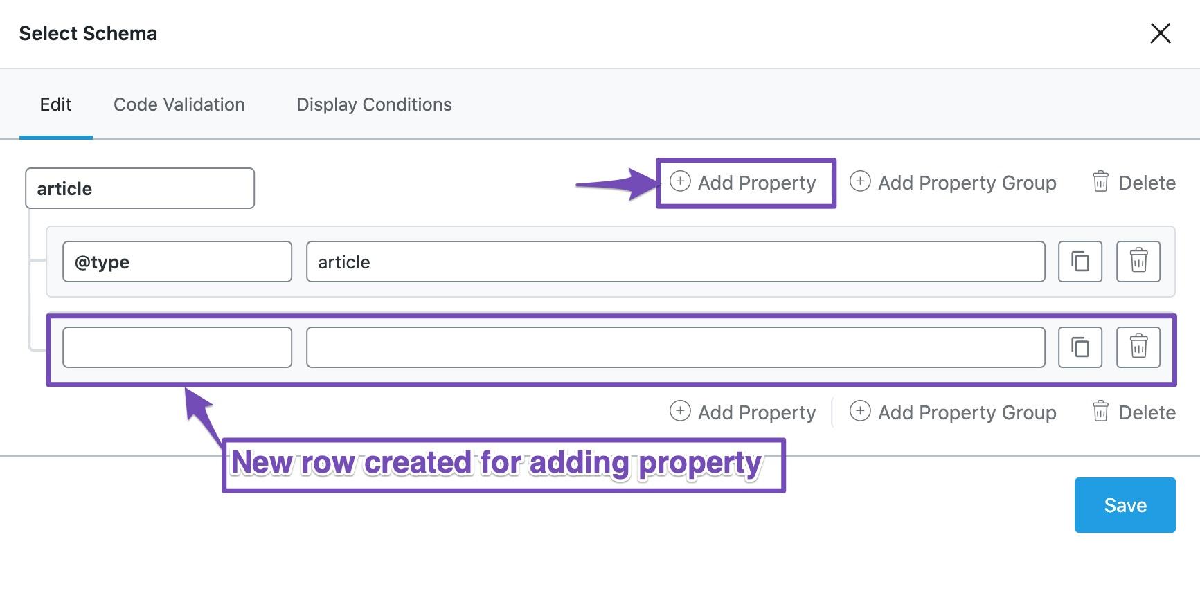 Choose Add Property in Custom Rank Math Schema Builder