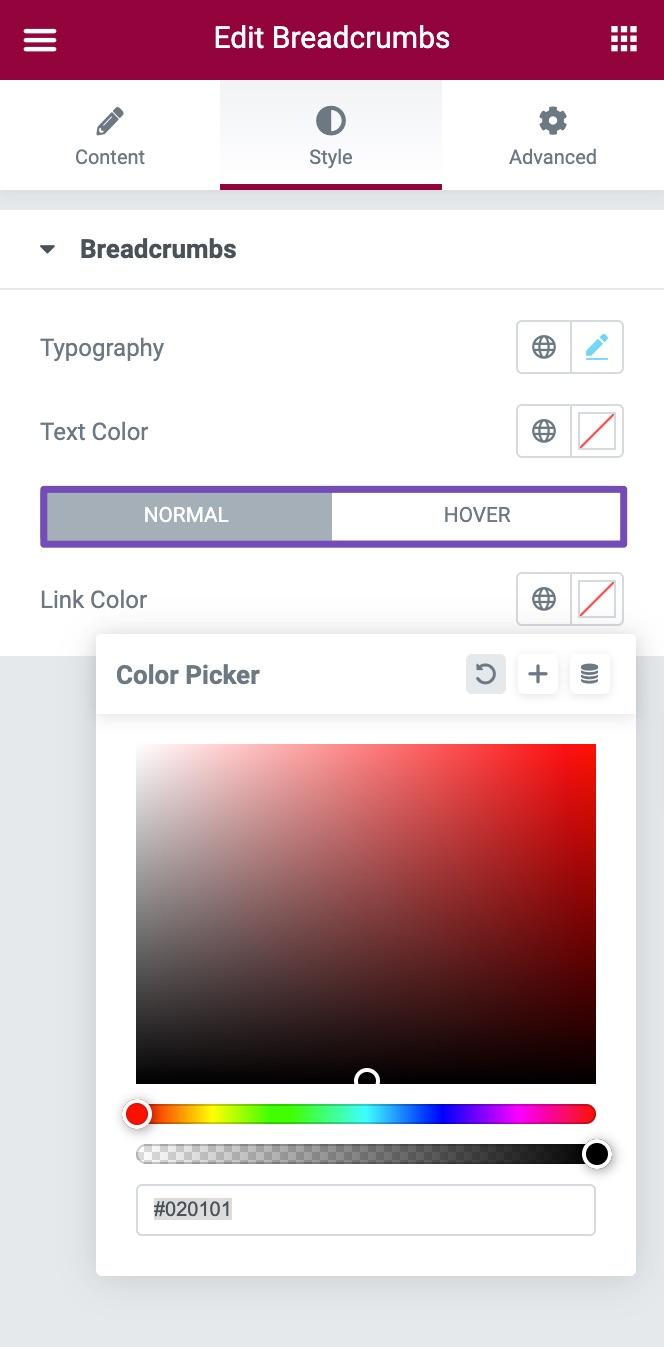Edit Breadcrumbs Link Color