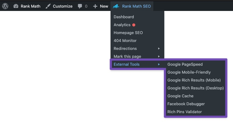 External tools submenu - Rank Math Quick Actions admin menu