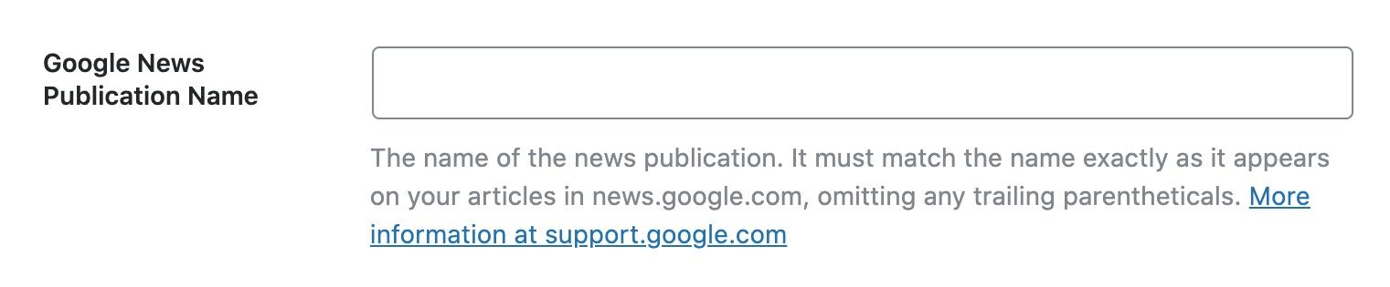 Google News Publication Name