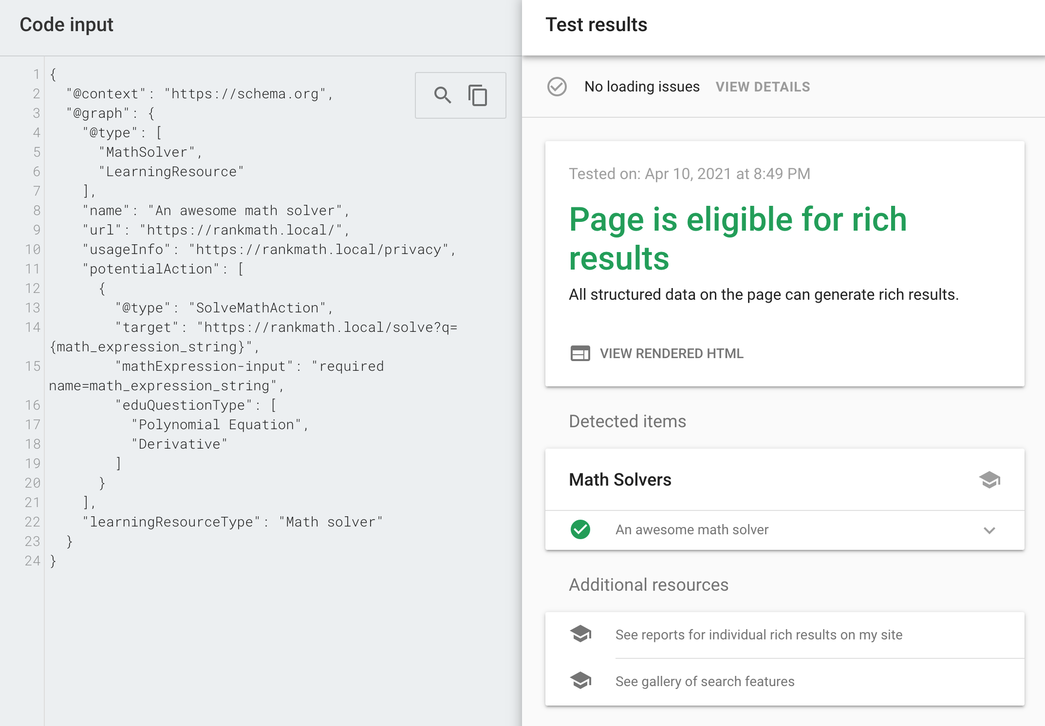 Validation Results in Google Rich Results Test Tool