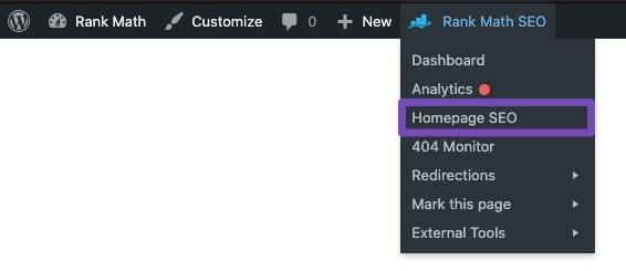 Homepage SEO in Rank Math Quick Actions admin menu