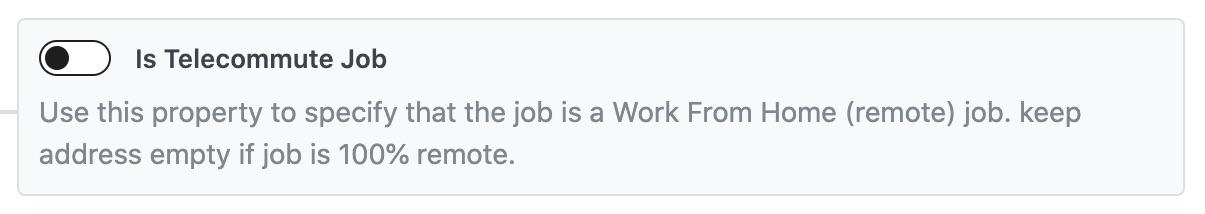 Is Telecommute Job - Job Posting Schema