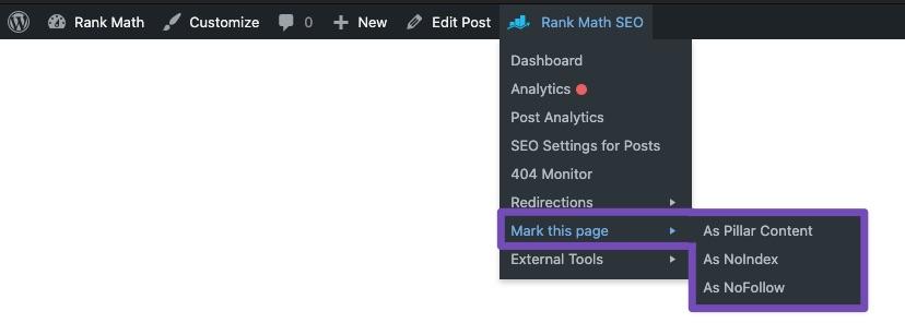 Mark this page/post - Rank Math Quick Actions admin menu