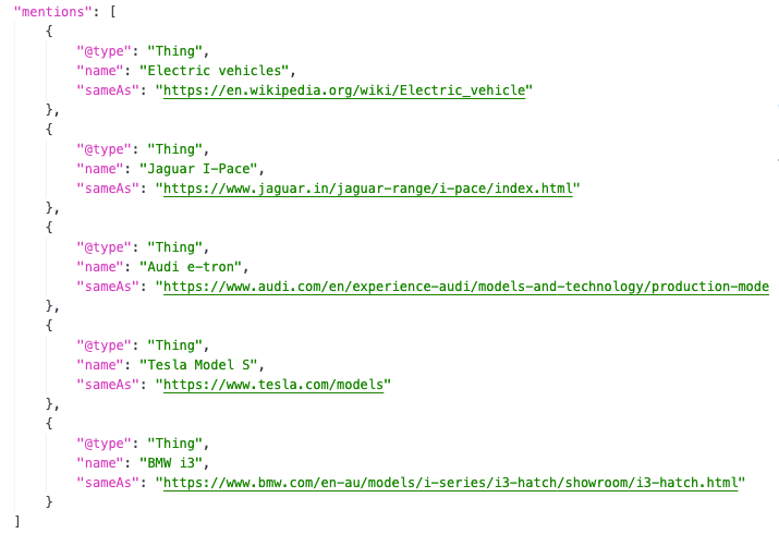 Mentions Schema example