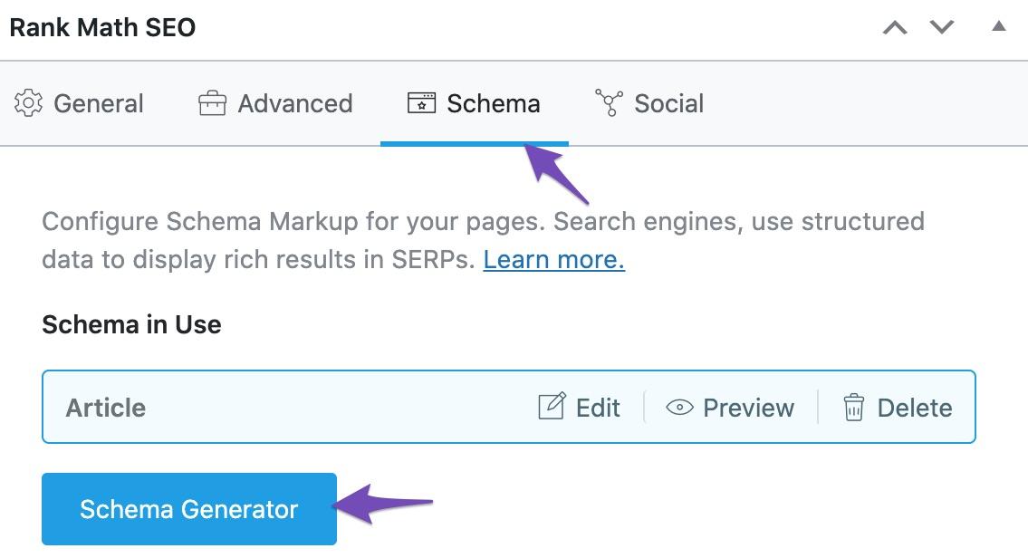 Open Schema Generator in single plages (Classic Editor)