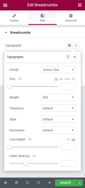Edit Breadcrumbs Typography