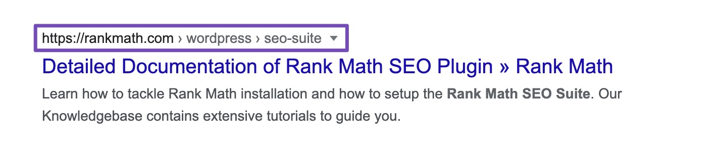 Rank Math Breadcrumbs feature