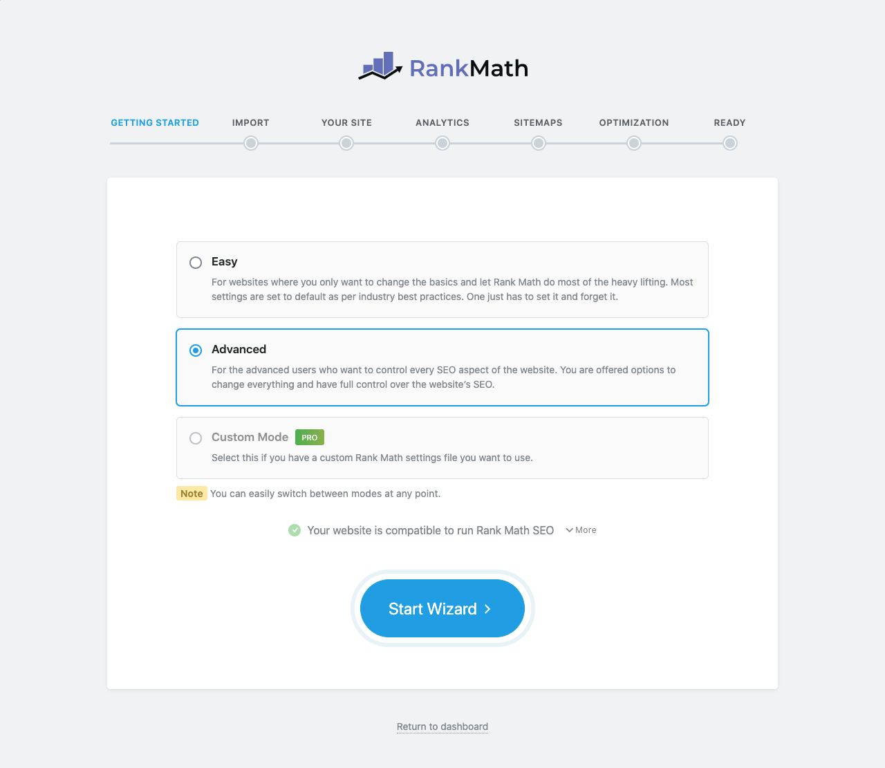 Rank Math Setup Wizard