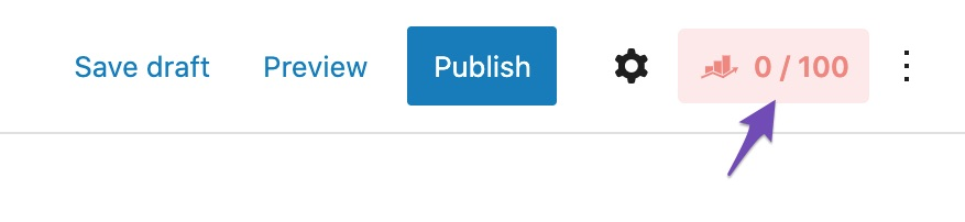 Rank Math icon in Gutenberg Block editor