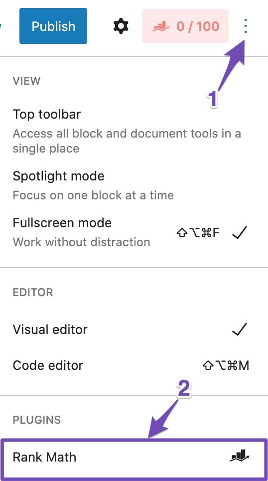 Rank Math option in Gutenberg Block editor