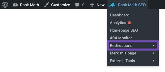 Redirections - Rank Math Quick Actions admin menu