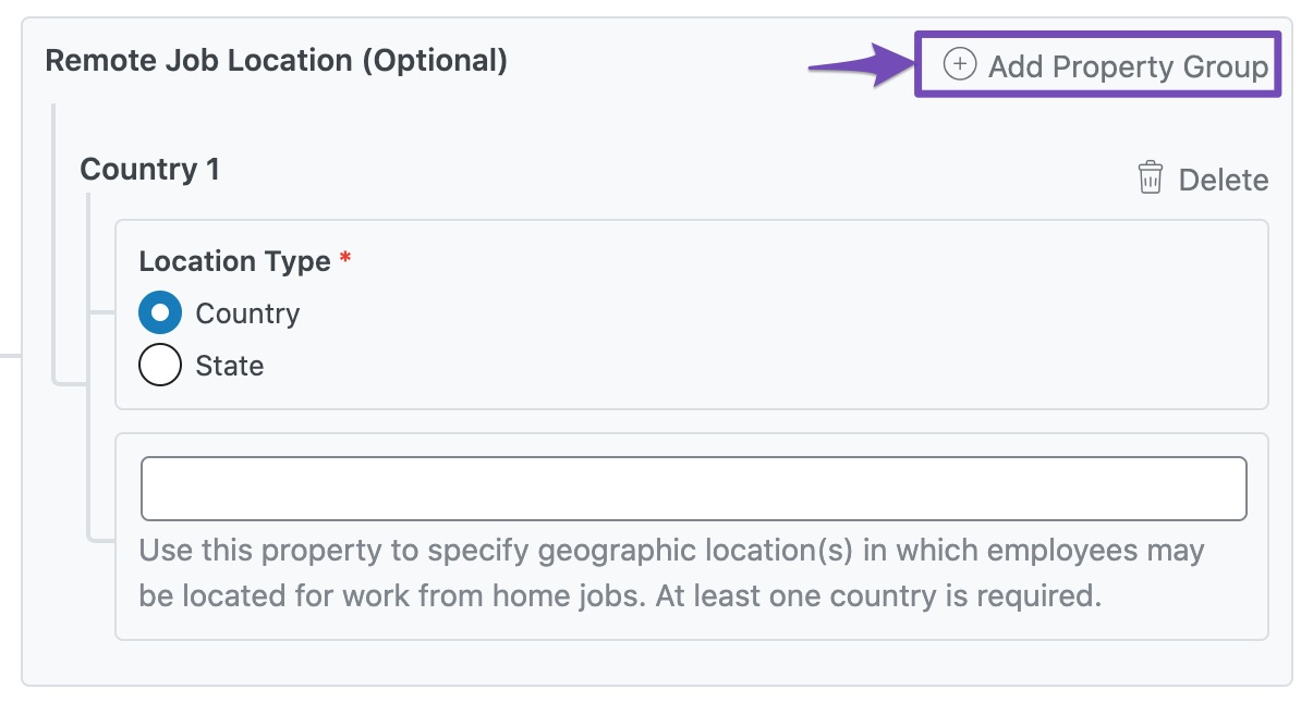 Add Property Group in Remote Job Location