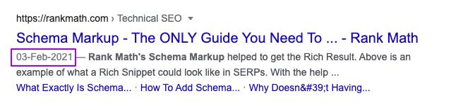 Schema Markup SERP with date