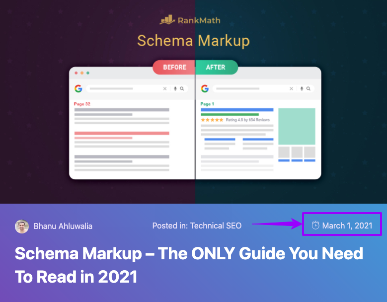 Schema Markup blog post with date