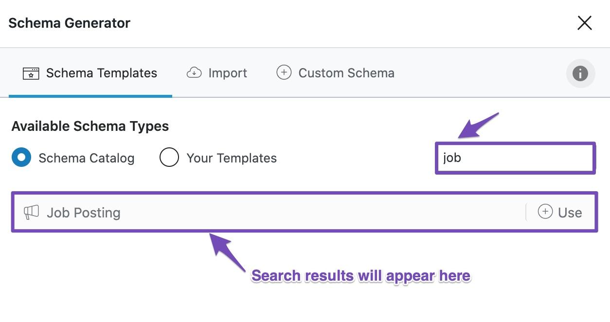 Search for a Schema Template in Rank Math Schema Generator