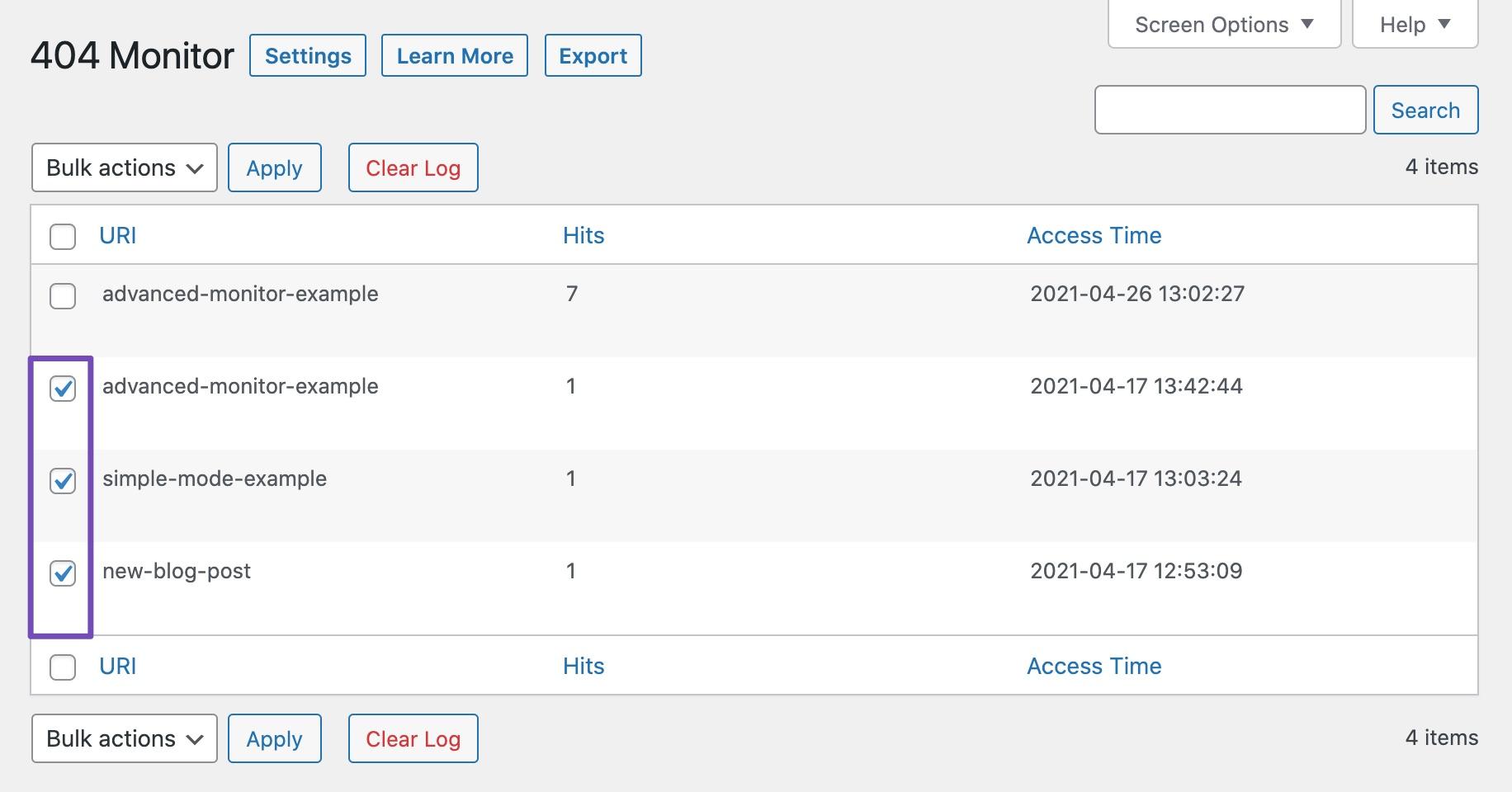 Select Multiple URLs for bulk action