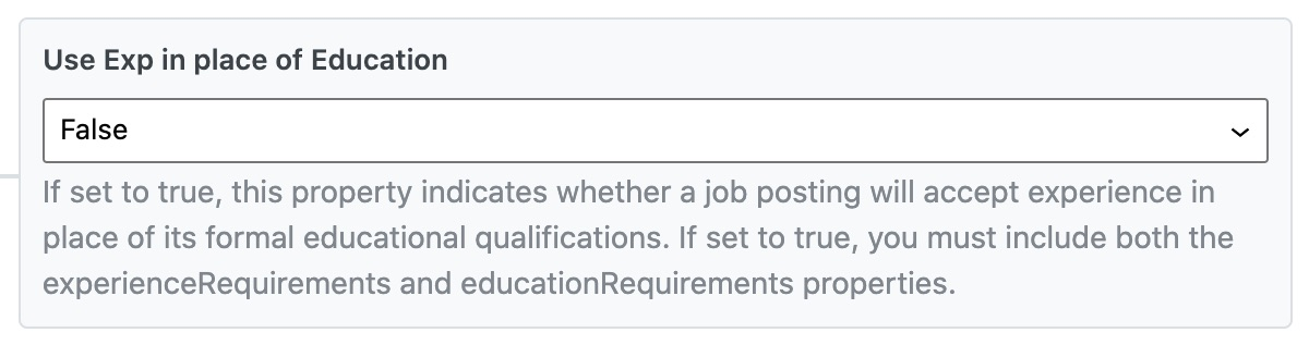 Use Exp in place of Education - Job Posting Schema