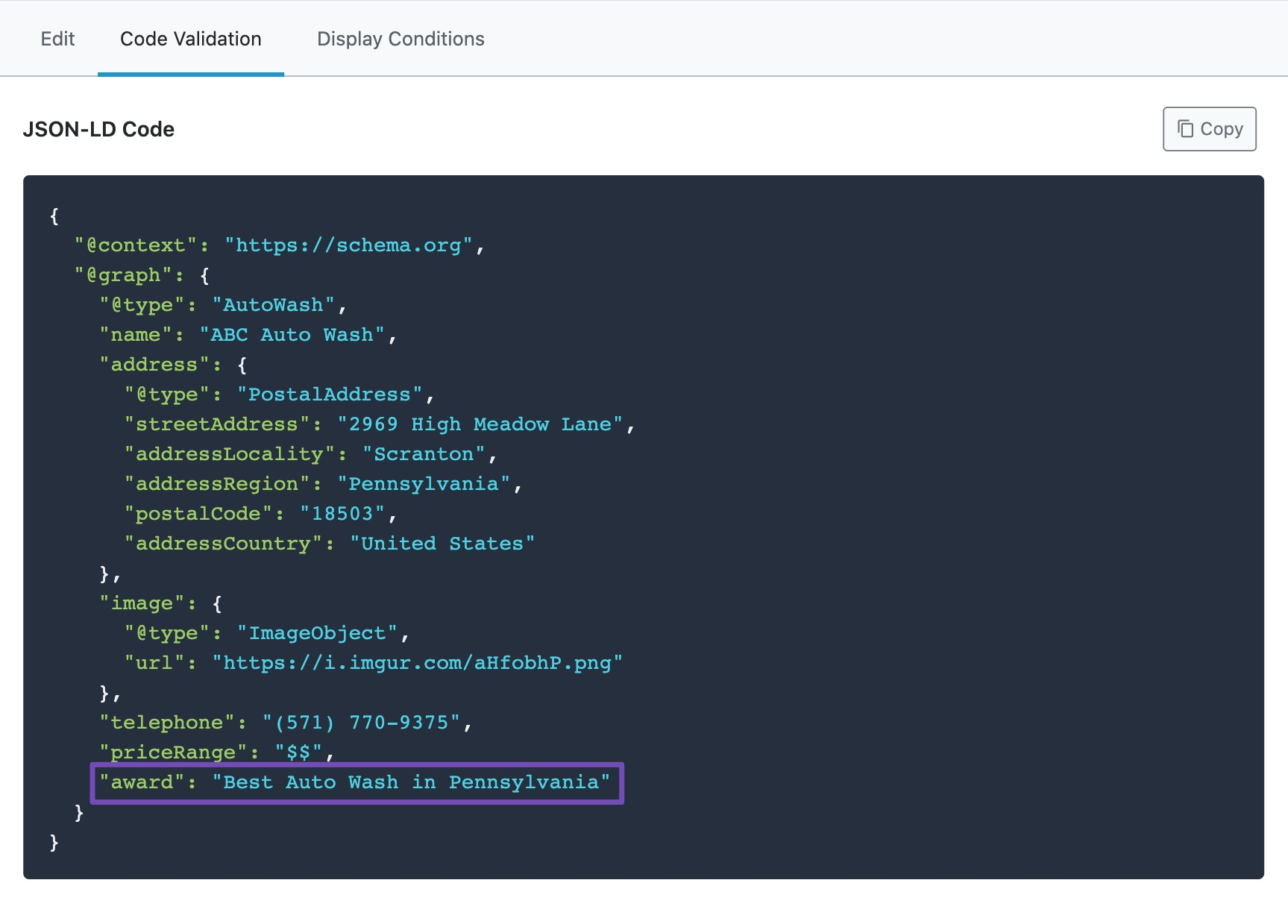 Validation of JSON-LD code of custom Local SEO Schema Markup with example