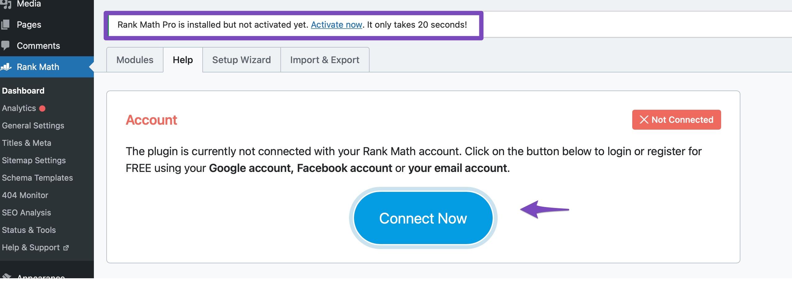 Activate Rank Math PRO license