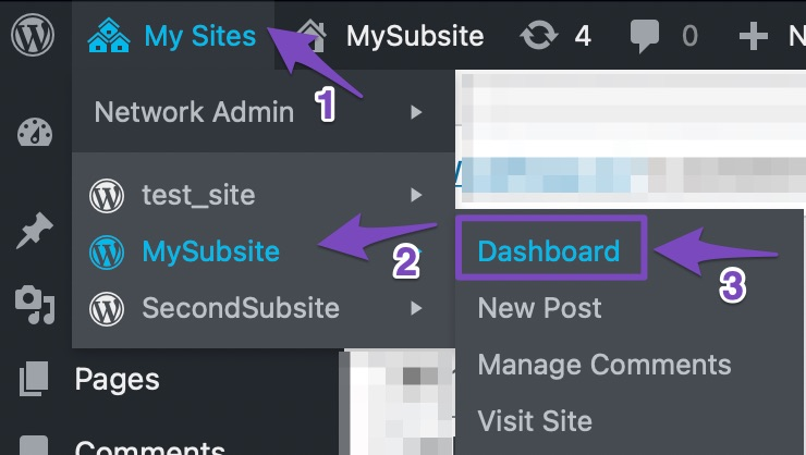 Navigate to your subsite.