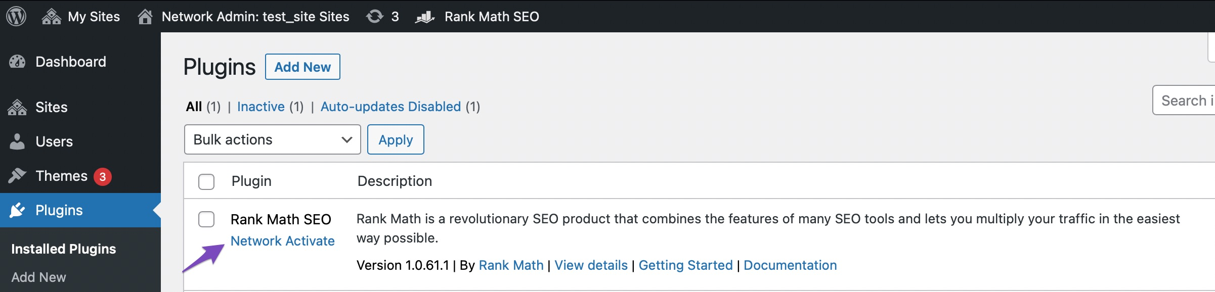 Network Activate Rank Math plugin